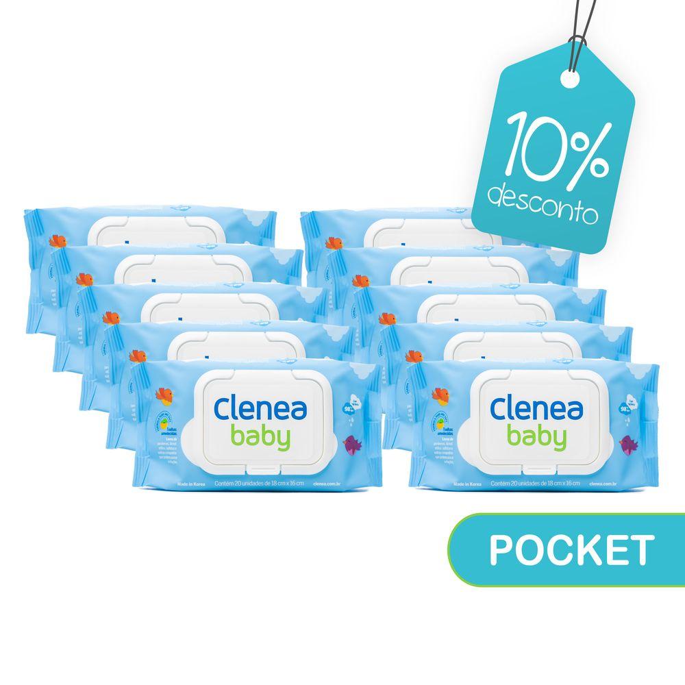 Kit-promocional-com-10-pacotes-de-Clenea-Baby-Pocket-com-fragrancia-20-unidades