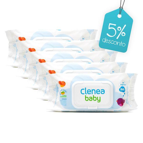 Kit-promocional-com-5-pacotes-de-Clenea-Baby-sem-fragrancia-80-unidades