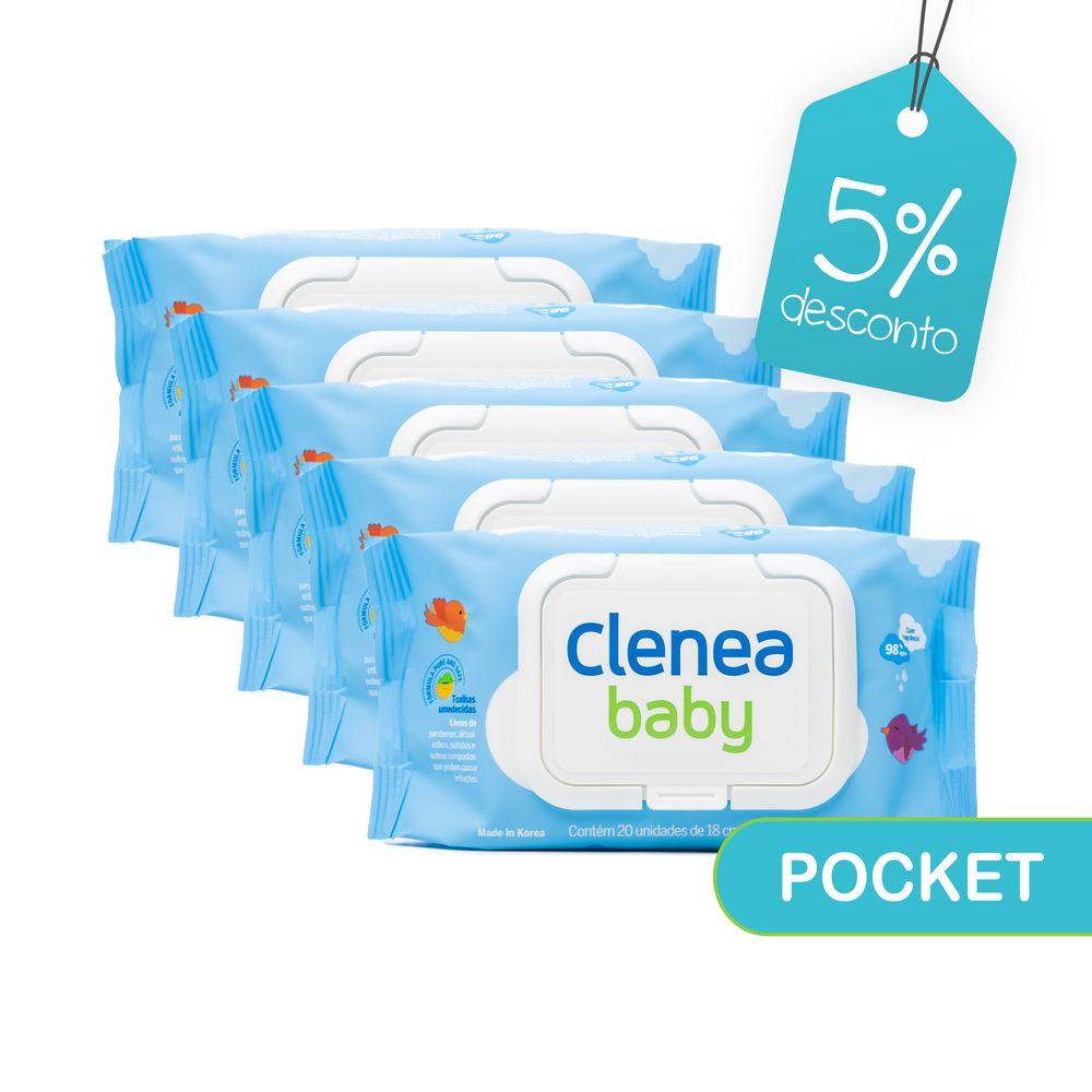 Kit-promocional-com-5-pacotes-de-Clenea-Baby-Pocket-com-fragrancia-20-unidades